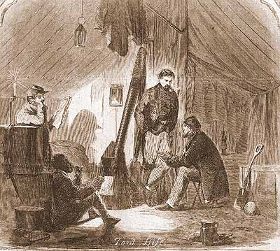 Troops at Camp Wood, in Munfordville, 1861